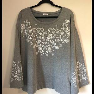 Westport Floral Print Sweatshirt Wide Sleeves